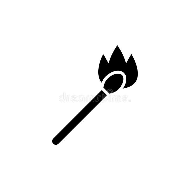 Assortissez sur l'icône du feu, illustration de vecteur, noir se connectent le fond d'isolement illustration libre de droits
