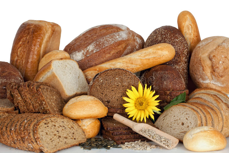 Assortment of baked goods. Bread and bakeries-studio shot, Window Display royalty free stock images