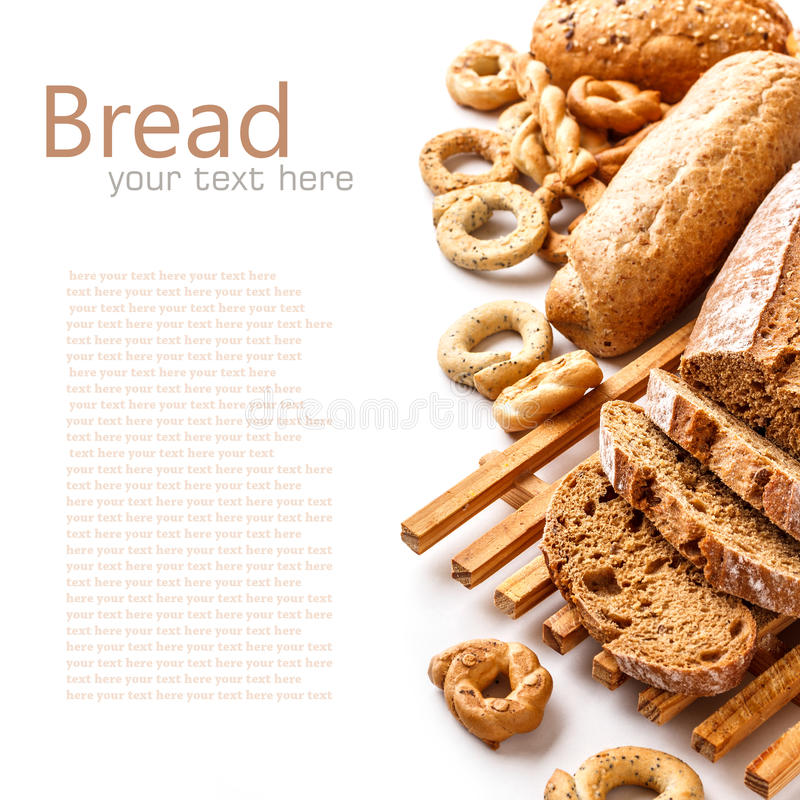 Assortment of baked goods. On white stock images