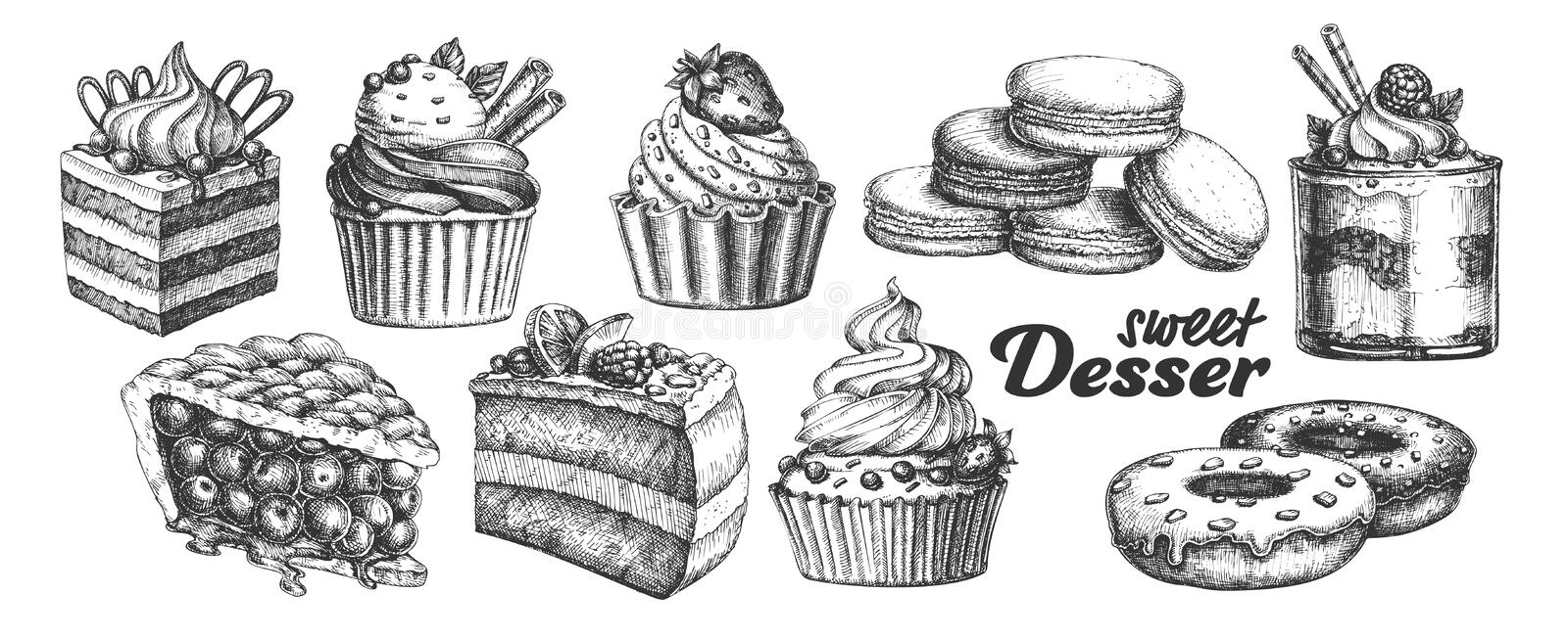 Assortment Baked Sweet Dessert Set Vintage Vector royalty free illustration