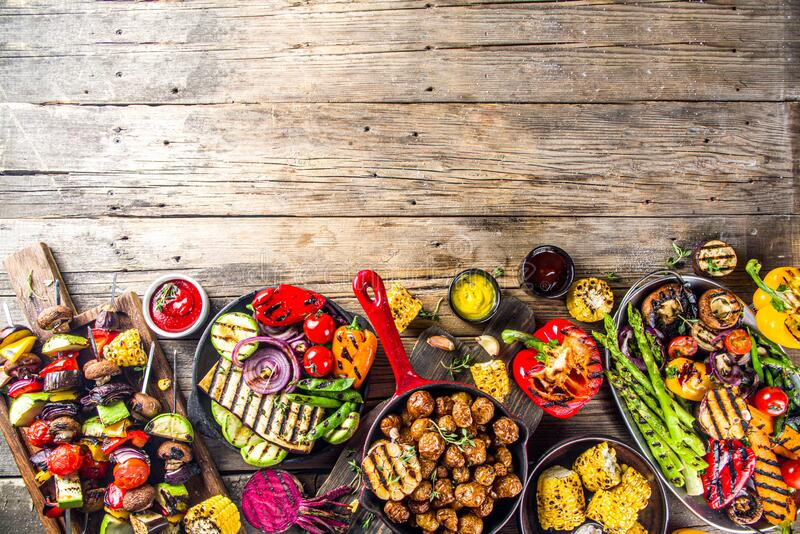 Assortment barbecue vegan food royalty free stock images