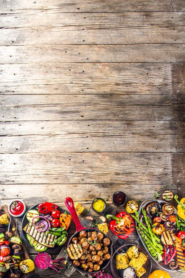 Assortment barbecue vegan food stock photo