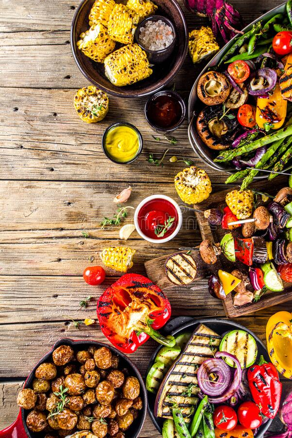 Assortment barbecue vegan food stock photos