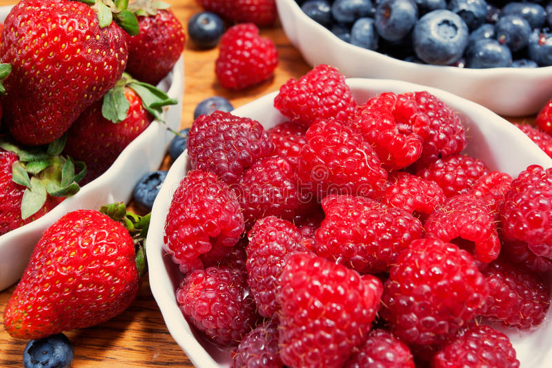Assortment of berries, colorful ripe and fresh stock image