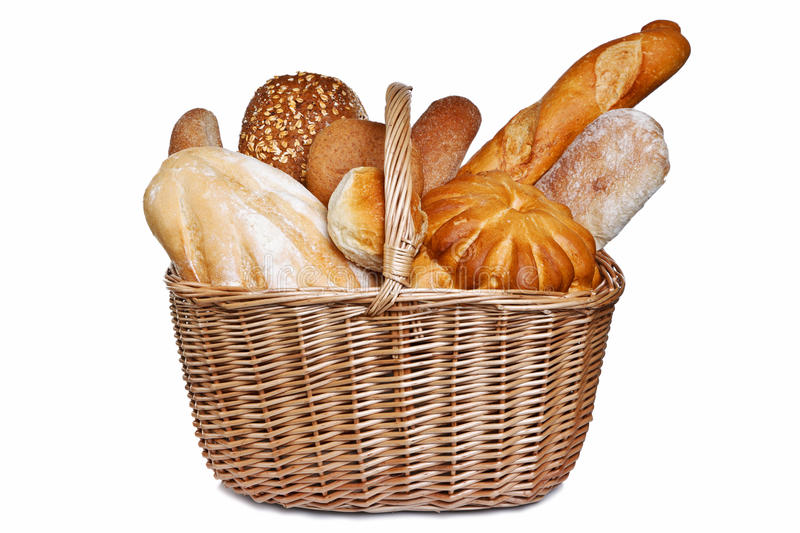 Assortment of bread in basket isolated royalty free stock images