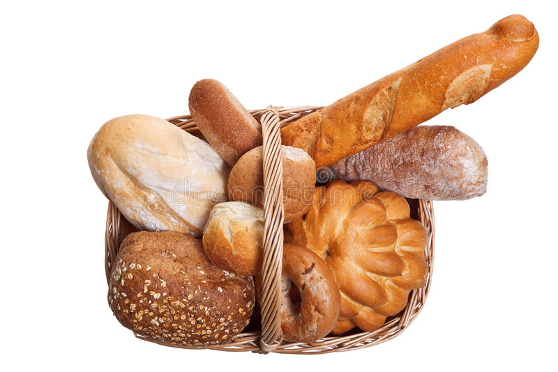 Assortment of bread in basket isolated stock photo