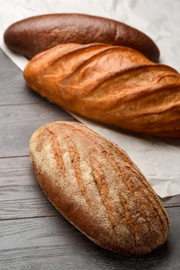 Assortment of bread on table royalty free stock photo