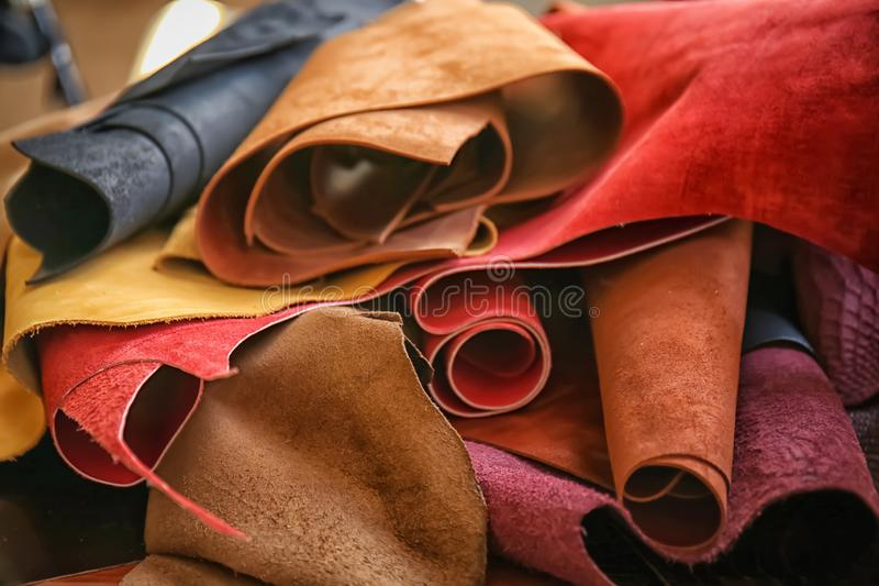 Assortment of colorful leather pieces stock photo