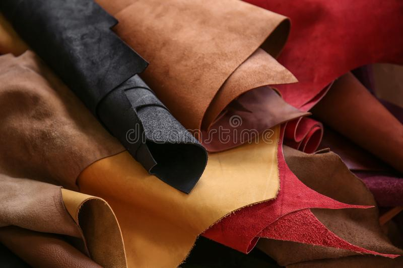 Assortment of colorful leather pieces stock photos