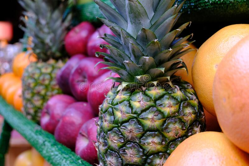 Assortment of colorful ripe tropical fruits. Top view.  stock photo