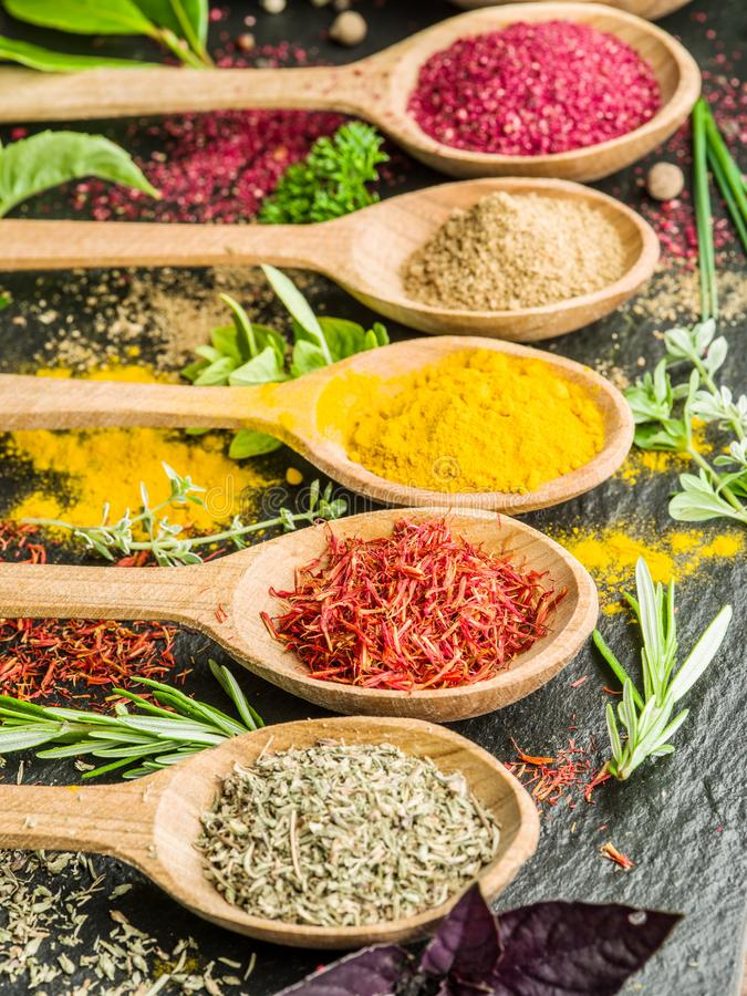 Colorful Spoons: Assortment Of Colorful Spices In A Wooden Spoons. Stock