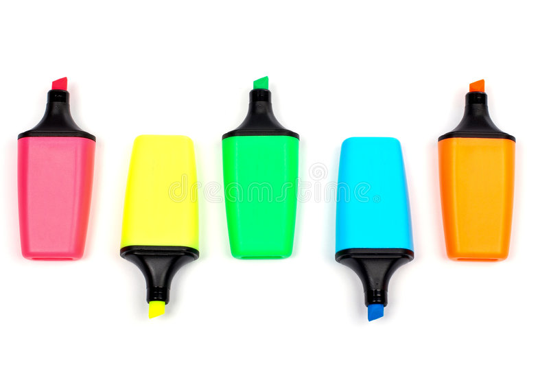 Assortment of coloured labellers royalty free stock images
