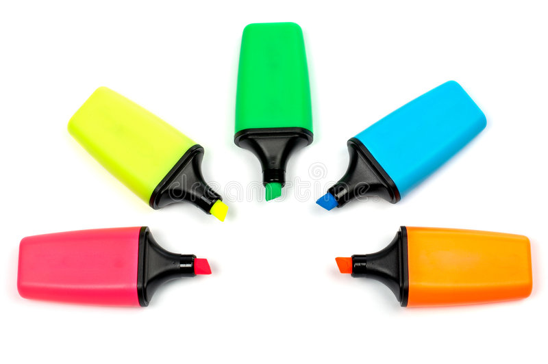 Assortment of coloured labellers royalty free stock photo