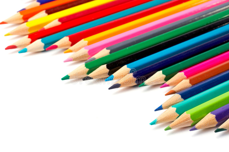 Assortment of coloured pencils royalty free stock photography