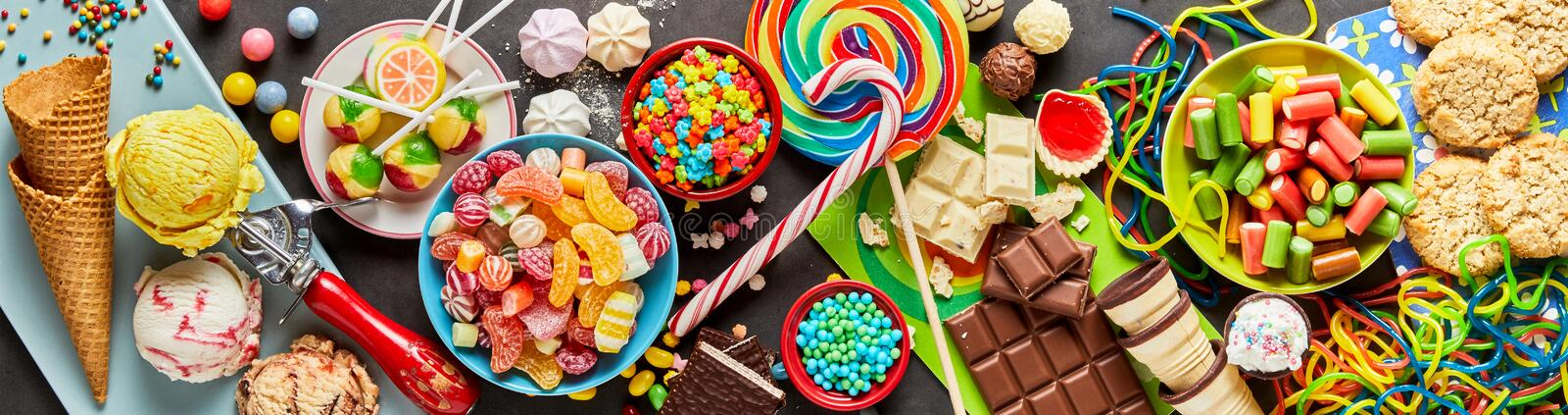 Assortment of colourful, festive sweets and candy royalty free stock images