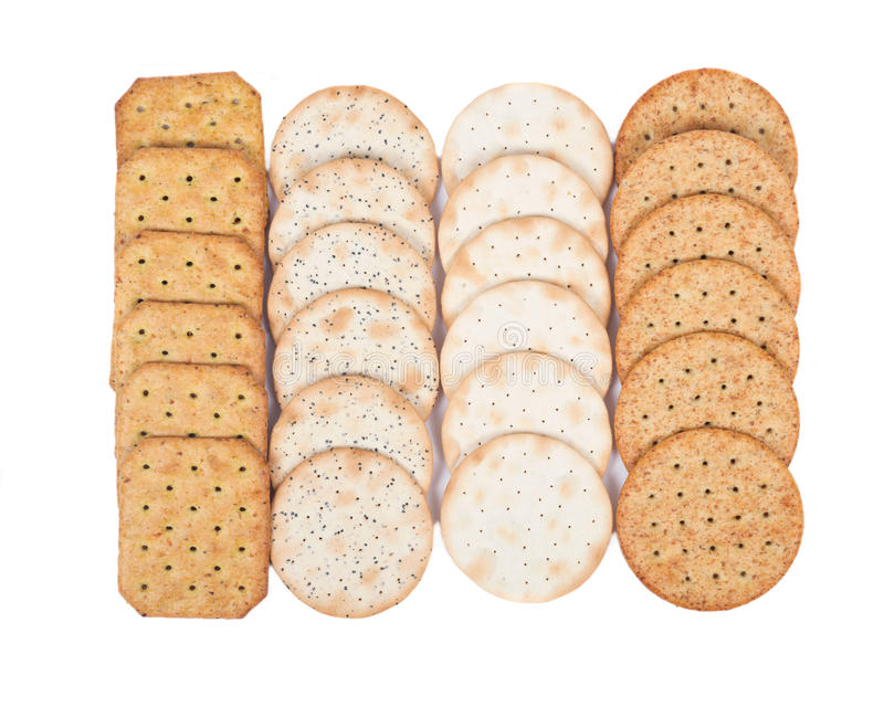 Assortment of crackers royalty free stock photography