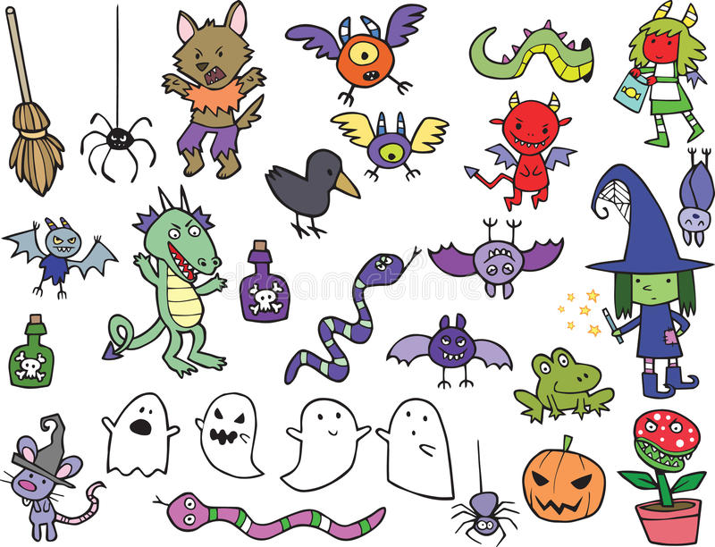 Assortment of Cute Halloween Cartoon Characters and Icons stock illustration