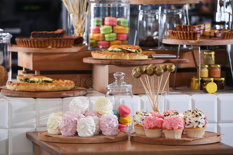 Assortment of delicious pastries and sweets in shop royalty free stock photo