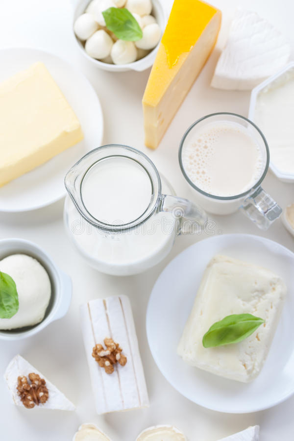 Assortment of different dairy products stock photo