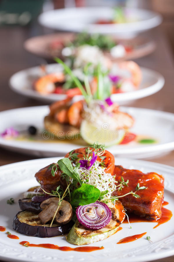 Assortment of different dishes royalty free stock images