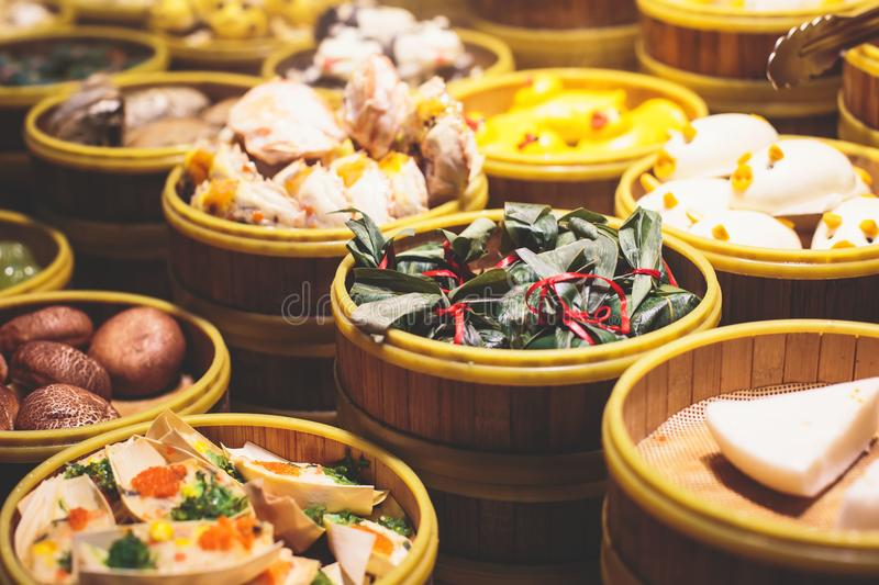 Assortment of different types of asian traditional street food in Shangha streeti, China stock photos