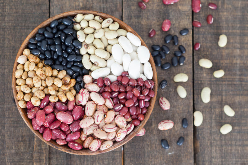Assortment of different types of beans royalty free stock images
