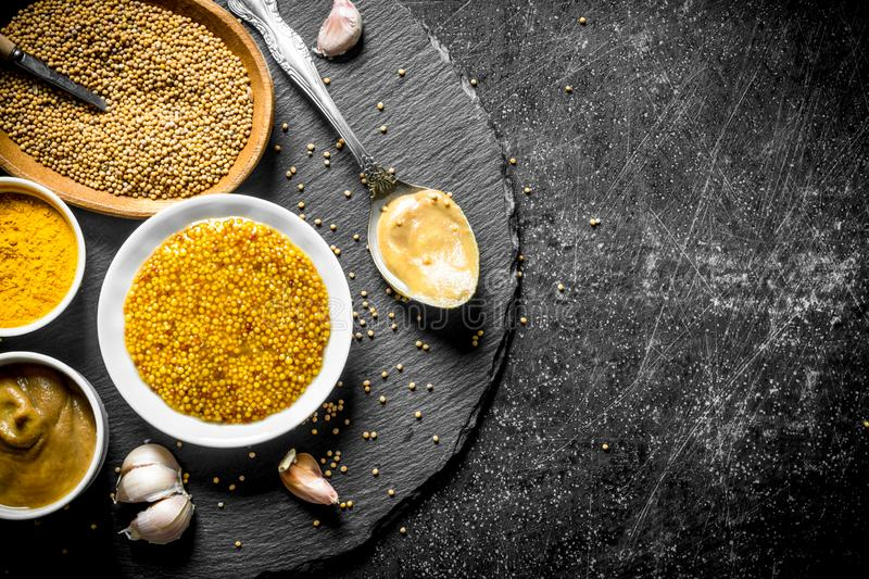 Assortment of different types of mustard on a stone Board. On dark rustic background stock photos