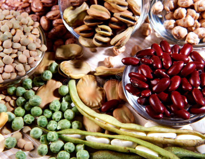 Assortment of dried legumes royalty free stock photos
