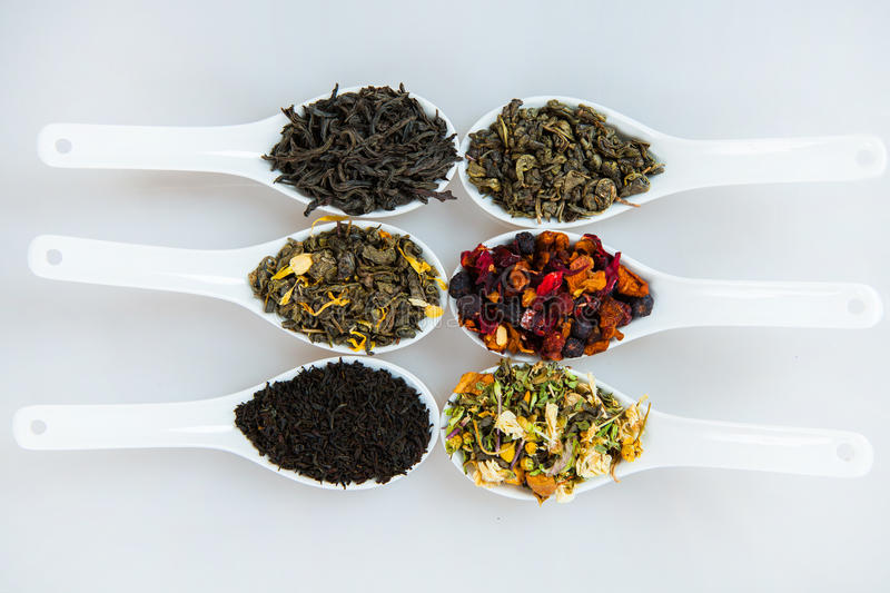 Assortment of dry tea. Various kinds of tea isolated on white. Different kinds of tea leaves. Tea composition with different kind royalty free stock photography