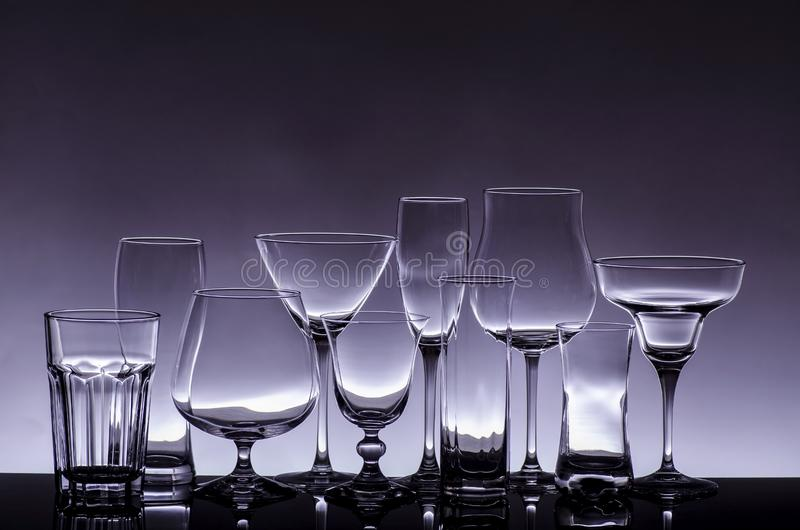 Crystal glasses in transparency stock photography