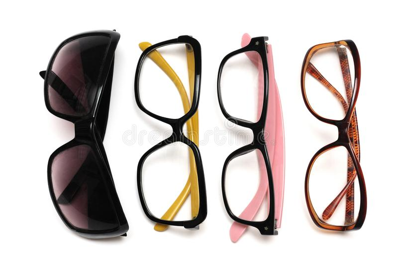 An assortment of fanciful decorative spectacles stock photo