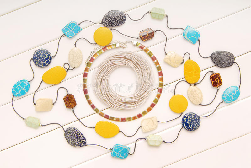 Assortment of female accessories, bijouterie is in box, beads, b stock photo