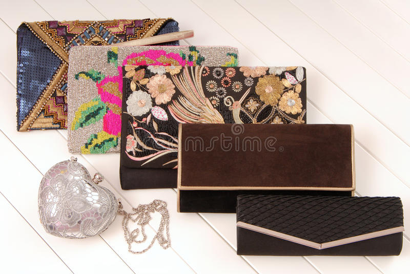 Assortment of female handbags, show-window and fashionable cl stock photo