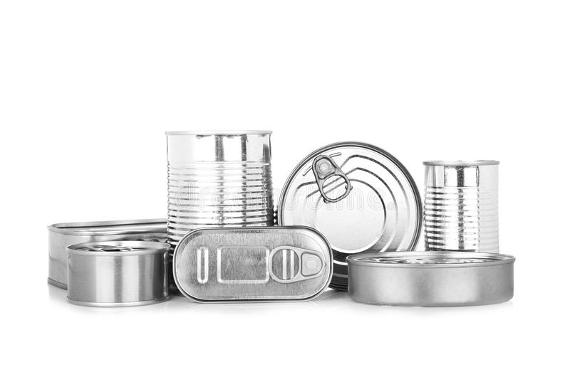 Assortment of food tin can. Reflected on white background royalty free stock photography