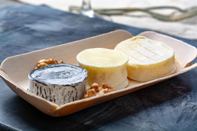 Assortment of French soft goat cheeses, Chevre Cendre, Cabecou Du Perigord and Chevre De Dordogne served on grey marble board royalty free stock photos