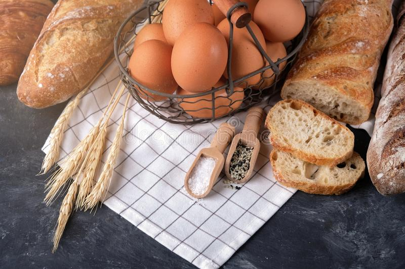 Assortment of fresh bread. Healthy homemade bread. royalty free stock photography