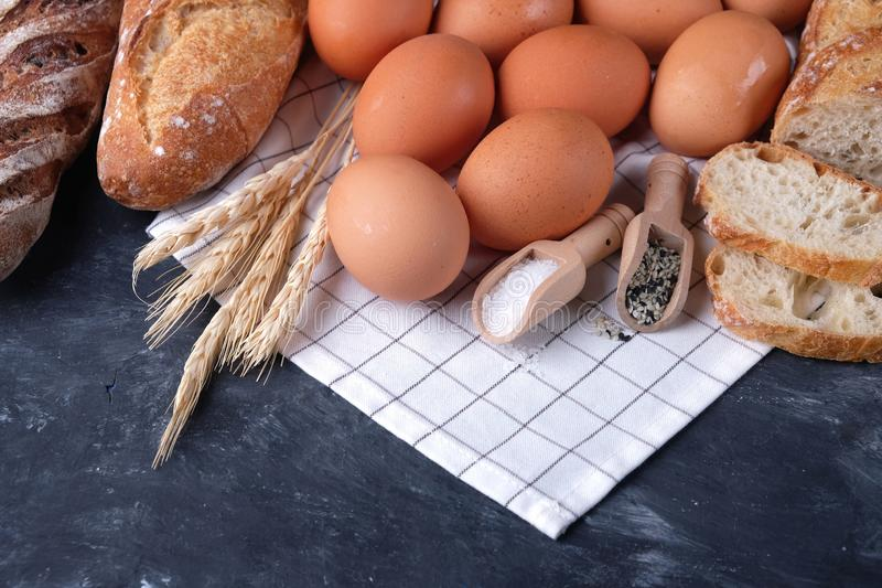 Assortment of fresh bread. Healthy homemade bread. stock photos