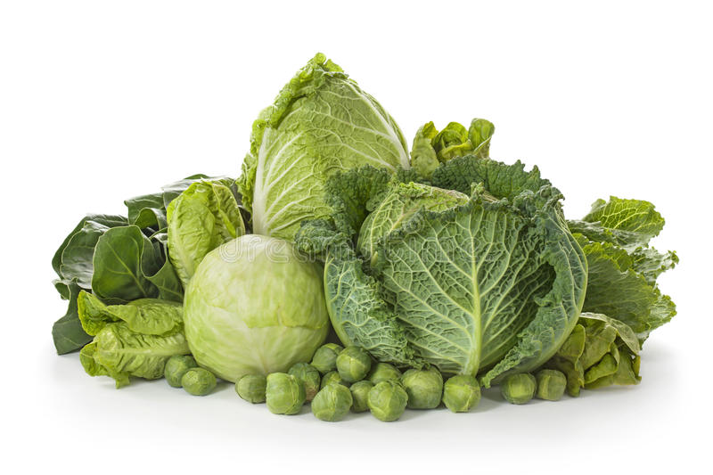 Assortment of fresh cabbages. Isolated on white background stock photo