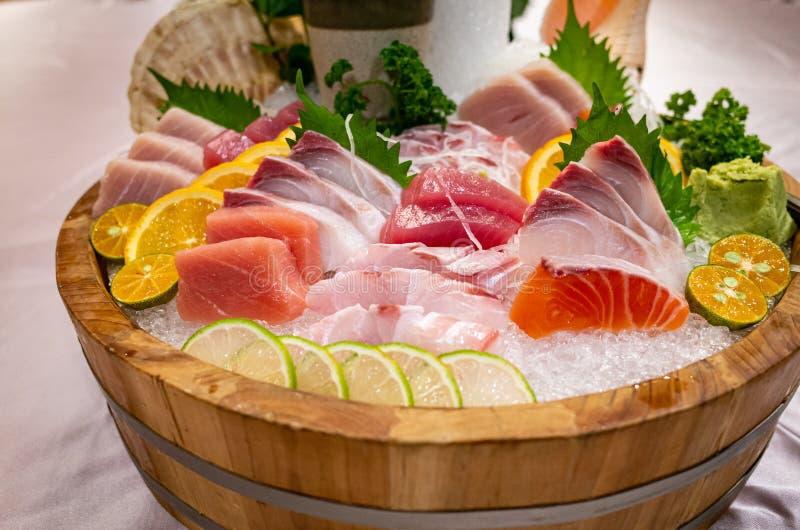 Assortment of Fresh Delicious Sashimi on Ice royalty free stock image