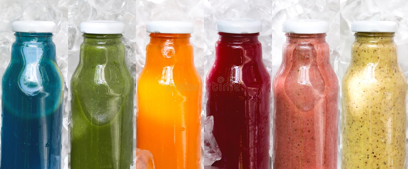 Assortment of fresh detox drink for nutrition diet on ice royalty free stock photos