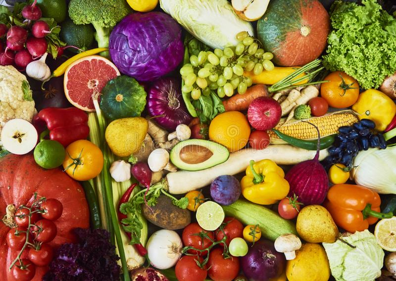 Assortment of fresh fruits and vegetables. Top view royalty free stock images