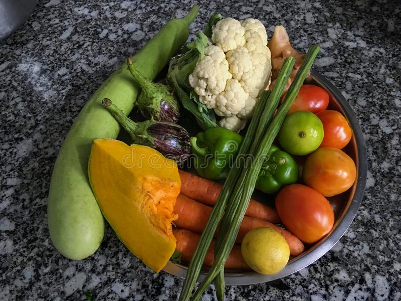 Assortment of fresh fruits and vegetables Lock Gram kalyan stock images