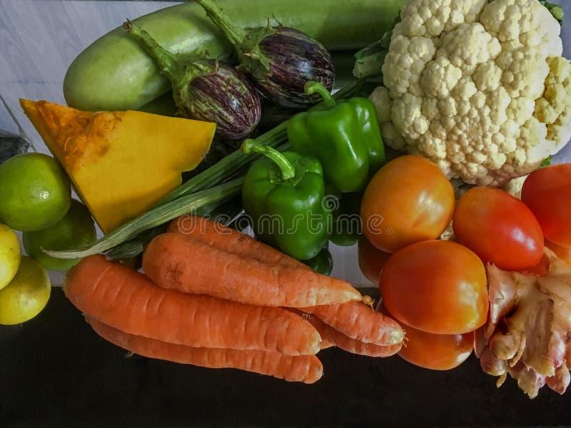 Assortment of fresh fruits and vegetables Lock Gram kalyan stock photography