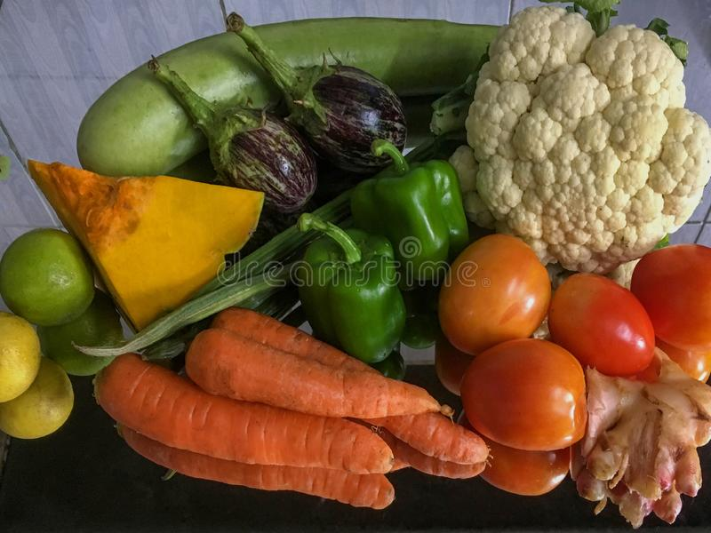 Assortment of fresh fruits and vegetables Lock Gram kalyan maharashtra stock image