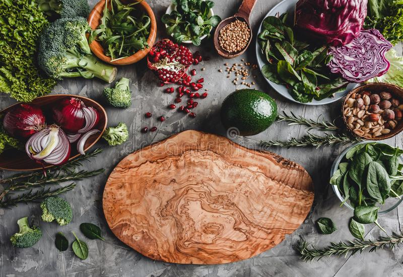 Assortment of fresh organic farmer vegetables food for cooking vegan vegetarian diet and nutrition. Healthy food, clean eating, top view, flat lay, copy space royalty free stock image