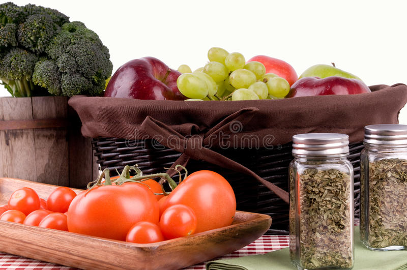 Assortment of fresh organic fruits and vegetables royalty free stock images