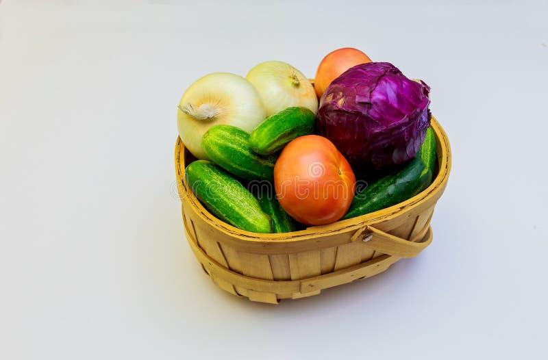 Assortment of fresh vegetables wooden background stock photo