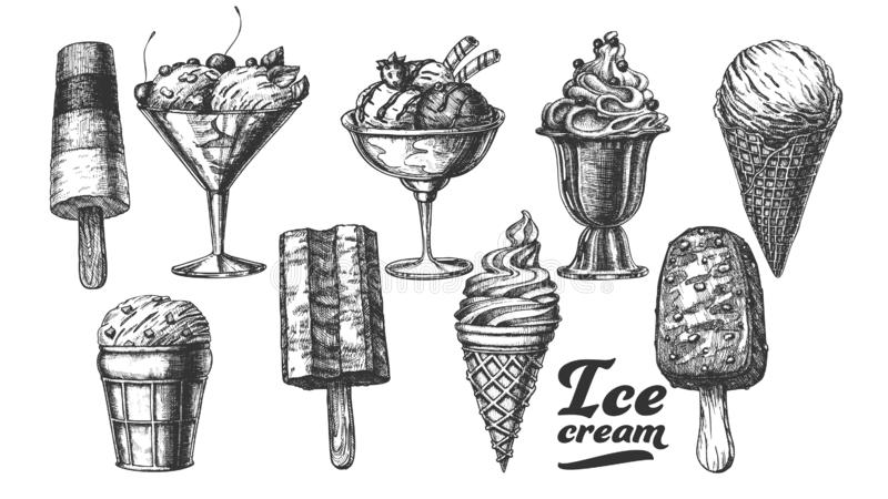 Assortment Frozen Ice Cream Set Vintage Vector vector illustration