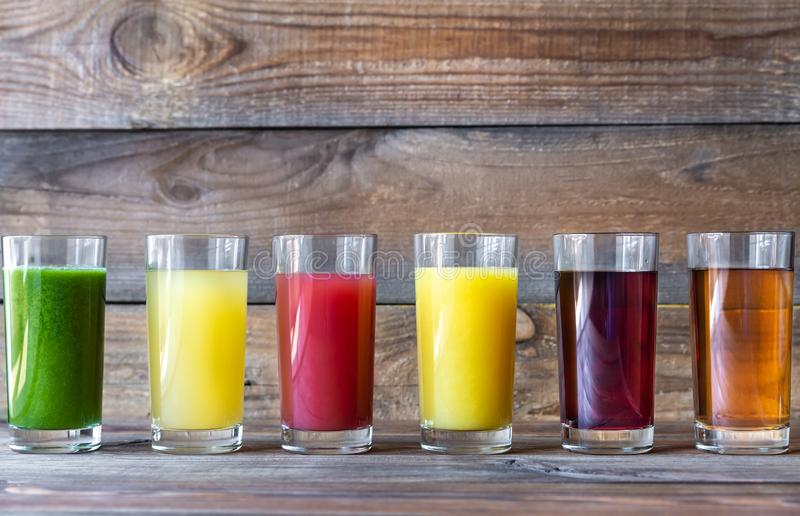 Assortment of fruit juices royalty free stock images
