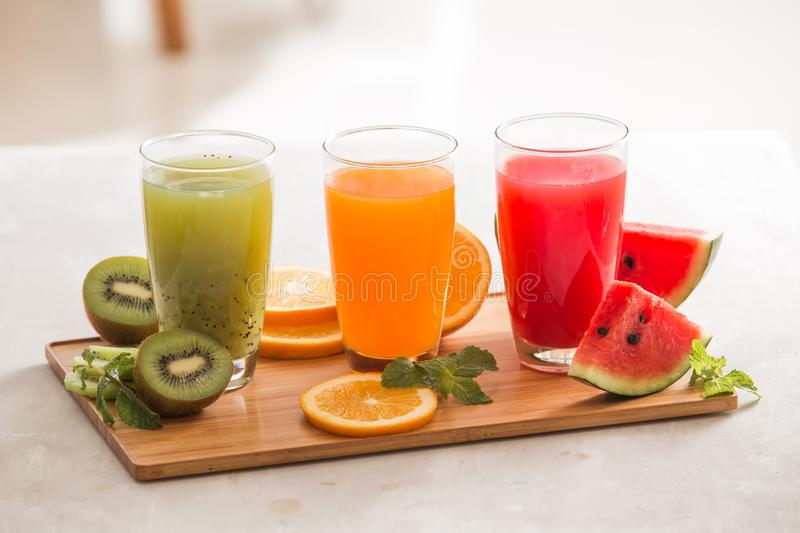 Assortment of fruit and vegetables juice in glass. Fresh organic ingredients, health or detox diet food concept royalty free stock photos